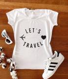 Cumpara ieftin Tricou dama ieftin din bumbac alb cu imprimeu Let's travel