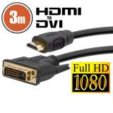 Cablu DVI-D HDMI 3 mcu conectoare placate cu aur