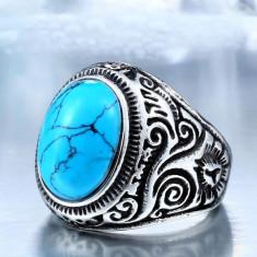Inel cu piatra albastru-turcoaz Unisex