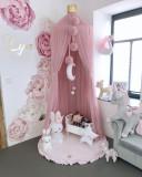 Saltea de joaca din spuma MeowBaby pentru copii rotunda cu volanas catifea roz deschis