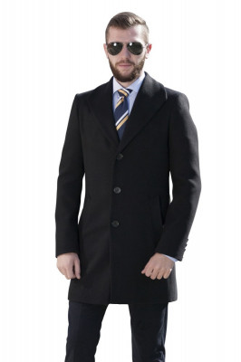 Palton barbati business negru B152 foto
