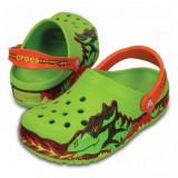 Saboți Copii casual Crocs CrocsLights Fire Dragon Clog Volt Green