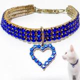 Zgarda pisici si caini mici, bijuterie colier pentru animale de companie, strasuri albastre si pandantiv inima