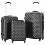 Cumpara ieftin Set valiză carcasă rigidă, 3 buc., negru, ABS