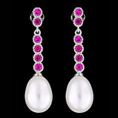 Cercei din Argint 925 cu Perle Naturale si Diamante, Glamour