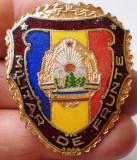 I.463 ROMANIA RSR INSIGNA MILITARA MILITAR DE FRUNTE h40mm email VARIANTA MARE
