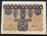 Bancnota ISTORICA 10 COROANE - AUSTRO-UNGARIA (AUSTRIA), anul 1922   *cod 630 C