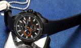 Cumpara ieftin Ceas Megir 8135 - Sport Cronograf Negru - portocaliu Curea Silicon