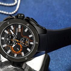 Ceas Megir 8135 - Sport Cronograf Negru - portocaliu Curea Silicon