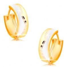 Cercei în trei culori, din aur 14K - cercuri mate cu ondulație strălucitoare pe mijloc