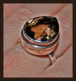 inel argint 925 MASIV CU PIATRA DE CUART FUMURIU ! pear cut 2