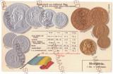 2018 - King CAROL I, Romanian Coins, Flag - old postcard, embossed - unused
