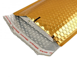 Plic cu bule antisoc, spatiu destinatar-expeditor, laminat, termoizolant, autoadeziv Office Depot, 33x22 cm, Auriu