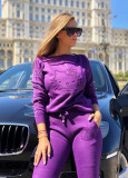 Trening dama ieftin lung din tricot mov cu imprimeu 3D HK