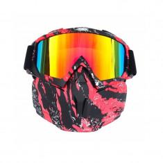 Masca protectie fata, plastic dur+ochelari ski, lentila multicolora, model MDR04