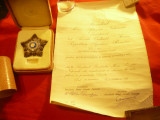 Ordinul Steaua RPR cl.IV ,argint ,cu brevet semnat Petru Groza ,acordat Col.Left