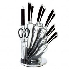 Set cutite bucatarie Bohmann, 8 piese, suport inclus, Negru/Argintiu