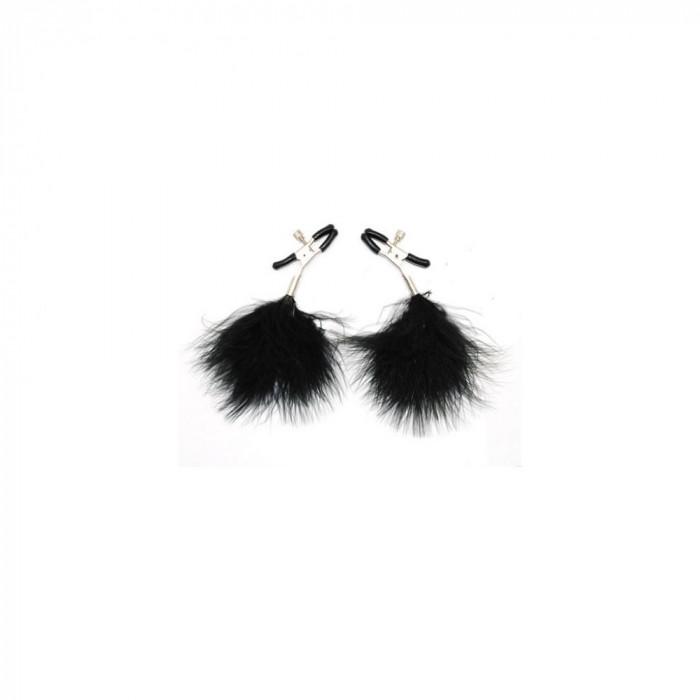 Clame Pentru Sfarcuri Black Feather - Sex Shop Erotic24