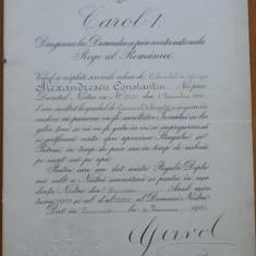 Diploma regala , semnata olograf de Carol I , 1909