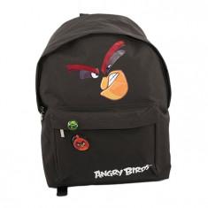 Ghiozdan gimnaziu Angry Birds, 1 compartiment, negru, Pigna