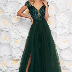 Rochie Artista verde-inchis de ocazie in clos cu bust buretat din tul din dantela cu aplicatii florale cu efect 3d
