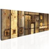 Tablou pictat manual - Compozitia de aur - 3 piese - 150 x 50 cm, Artgeist
