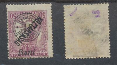 1919  emisiunea Oradea timbru Zita 50f sursarj ranversat tipar maghiar deplasat foto