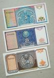 Lot 3 bancnote Uzbekistan unc-5,25 si 50 sum