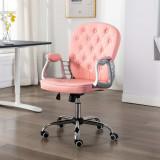 Scaun de birou rotativ roz piele ecologică