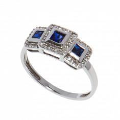 Inel din aur alb 10K cu safire si diamante