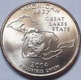 Monedă 25 cents 2004 USA, Michigan, unc, litera P,, America de Nord
