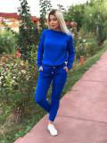 Trening dama ieftin lung din tricot albastru cu imprimeu 3D MK