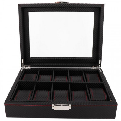 Cutie caseta pentru depozitare si organizare 10 ceasuri, model Pufo Glossy Royal foto