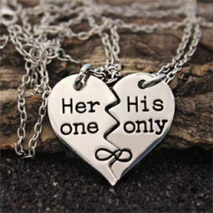 Pandantiv pentru cuplu indragostiti mesaj dragoste her one his only