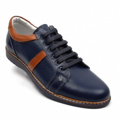 Pantofi barbati sport, casual din piele naturala bleumarin, TENMARIOALBASTRU