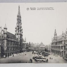 BRUXELLES , VUE GENERALE DE LA GRAND PLACE , CARTE POSTALA DUBLA , ILUSTRATA , MONOCROMA, NECIRCULATA , PERIOADA INTERBELICA