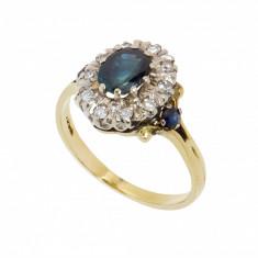 Inel din aur galben 18 K cu safire si diamante, circumferinta 52 mm, IAU94