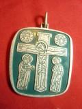 Medalion Eparhia din Essen 1974 romano-catolica ,metal si email ,h=4,5cm