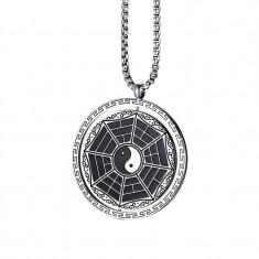 Pandantiv Medalion Lantisor Yin Yang Zodiac + Lant inox