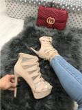 Sandale dama bej cu toc si platforma marime 36,  40+CADOU