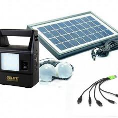 Kit Panou Solar 2 Becuri incarcare telefon USB lanterna lampa GD8030