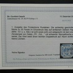 Romania LP 10 dubla impresiune , Principatele Unite I (1862) , Expertizat