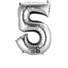 Balon cifra 5 argintie 86 cm