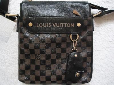 Borseta 2 fete + portchei barbati piele naturala Louis Vuitton 8 compartimente foto