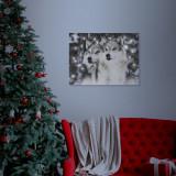 Tablou decorativ LED, cu lupi - 40 x 30 cm