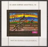 GUINEA ECUATORIALA 1976 SPORT J.O. DE VARA ( colita dt. cu folie de aur ) MNH, Nestampilat