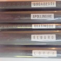 SET CELE MAI FRUMOASE POEZII EDITIE BILINGVA de ELUARD , LORCA , UNGARETTI , QUASIMODO ,APOLLINAIRE , Bucuresti 1968