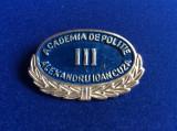 Insignă -Semn de armă - Academia de Poliție - Alexandru Ioan Cuza III (albastru)