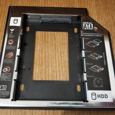 Caddy SSD Sata Laptop 9.5mm Model nou, cu fata, LED si switch de Device presence