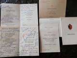 Set 4 meniuri receptii, semnaturi personalitati din lumea muzicii, anii '60-70